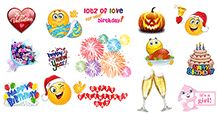 Emoticons for special occasions are ideal for birthdays, holidays, and other special days! We have a terrific selection of emoticons for Christmas, Halloween and other festivities!