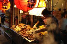 Food vendor at Shida Night Market in Taiwan