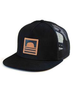 Sundance Beach Leather Logo Snapback Trucker Hat Black eef75a7f6141