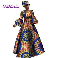 Image of 2018 African dresses for women New African dashiki rche dress for women Africa women long sleeves party dress plus size African Fashion Designers, African Men Fashion, Africa Fashion, African Fashion Dresses, African Dresses For Women, African Attire, African Wear, Party Dresses For Women, African Dashiki