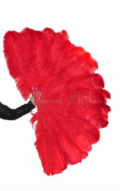 """Bushy 3 Layer Red Ostrich Feather Fan Opened 67"""""""