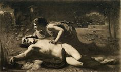 Pyramus and Thisbe. 1878. Francois Alfred Delobbe. French. 1835-1915. B&W photo print.  Here is another representation of Thisbe finding Pyramus dead. Her hand placement does a good job showing her love for him. This depiction seems to portray a more intimate scene than the others I have found. I think it is the best representation of their love story.