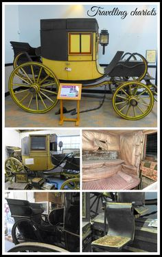 A travelling chariot was a privately owned post-chaise used for long journeys during the Georgian period. They were particularly popular in the late 18th and early 19th centuries - from about 1795 to 1825. They were driven postilion and by using the post system, they were a fast way to travel.