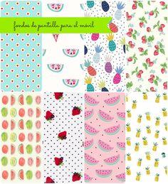 Fondos de pantalla chulos para el móvil #pattern #fabric #textures wallpaper watermelon, pineapple, strawberries