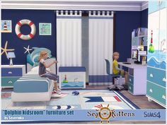 A set of furniture for a kids's room in a nautical theme.  Found in TSR Category 'Sims 4 Downloads'