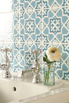 Liberté Blue Tapestry tiles from the Odyssey collection by Original Style, used as a basin splash back