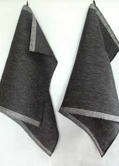 Tea Towel Set Stripes Striped Kitchen Towels Linen by Initasworks