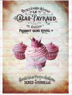 Bügelbilder - Bügelbild Cupcake Kuchen french Shabby 1568 - ein Designerstück von Doreens-Bastelstube bei DaWanda