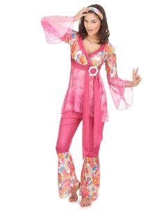 Hippie-Damenkostüm 60er-Kostüm pink-bunt , günstige Faschings Kostüme bei Karneval Megastore, der größte Karneval und Faschings Kostüm- und Partyartikel Online Shop Europas!