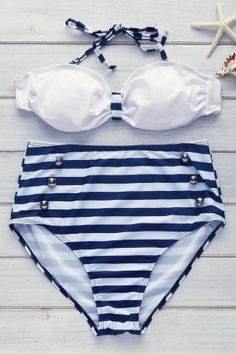 High Waisted Vintage Halterneck Cross Stripe Six Buttons Women's Swimsuit BLUE: Bikinis Haut Bikini, Bandeau Bikini, Bikini Swimwear, Kids Swimwear, Tankini, Cheap Swimsuits, Women Swimsuits, Bikini Vintage, Bikinis For Sale