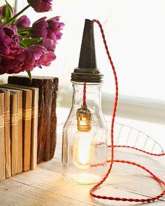 Sweet Paul's DIY Lamp in a Jar - vintage motor oil bottle lamp!