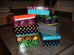 duct tape shoeboxes; make them more sturdy and a cute way to wrap them up.