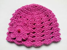 Crochet Baby Hat 100% Cotton Beanie pink girls by TatjanaBoutique