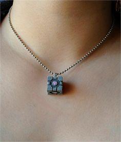 Companion Cube Necklace.