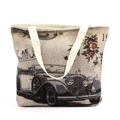 low MOQ vintage cotton linen shopping bags ladies tote bags