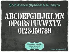 Bold Stencil Alphabet and Numbers in .SVG .EPS by TheSVGFontStore