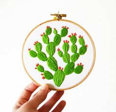 Blooming Prickly Pear Hoop Art  Hand Stitched by SarahKBenning