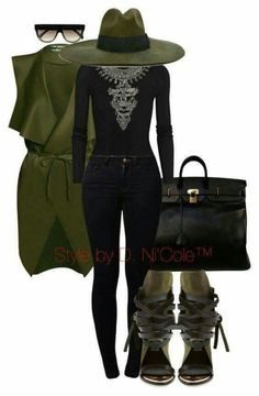 Green strappy heels all black outfit army green outfit blag bag purse fall women's fashion black pants black shirt olive green hat sunglasses classy ootd Mode Outfits, Fall Outfits, Casual Outfits, Fashion Outfits, Womens Fashion, Fashion Trends, Fashion Boots, Black Women Fashion, Dress Outfits
