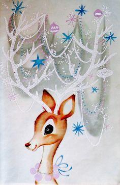 Christmas Reindeer. 1960's Christmas Card. Vintage Christmas Card. Retro Christmas Card.