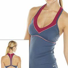 87e8e698c17fb Amazon.com: Nike Striped Racerback Tankini Top - Women's NESS4244 Size 12  Slate: Sports & Outdoors