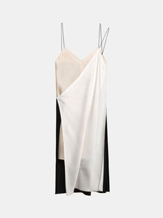 Multicoloured Pieced V-Neck Slip Dress With Raw Edges from DKNY.