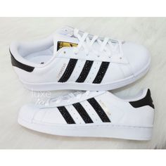 Adidas Original Superstar white/black/white With Black Swarovski... ($149