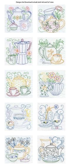 Vintage Embroidery Designs Line Art Tea Pots Embroidery Machine Design Details - Love the patterns for kitchen towels. Vintage Embroidery, Embroidery Applique, Cross Stitch Embroidery, Machine Embroidery Designs, Embroidery Sampler, Embroidery Tattoo, Embroidery Scissors, Simple Embroidery, Embroidery Software