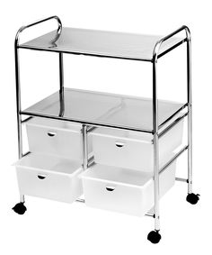 Professional Work Cart with 4 White Storage Drawers - This Metal Work Cart with White Drawers by Pibbs is perfect for use in both the salon and the spa. This is a professional work cart on wheels that has a very sturdy metal frame. It features 4 extra lar Spa Room Decor, Beauty Room Decor, Massage Room Decor, Home Beauty Salon, Home Salon, Facial Room, Esthetics Room, Lash Room, Spa Rooms