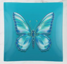 Shop Turquoise butterfly trinket trays created by floweraroma. Wedding Invitation Wording, Invitation Cards, Turquoise Bathroom, Blue Wings, Fused Glass, Art For Kids, Butterflies, Wedding Gifts, Tray