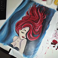 A3 'The Little Mermaid' painting on Mixed Media by Kaleidoscopeee, $160.00
