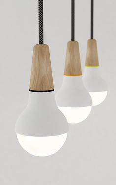 Up and coming Australian designer Stephanie Ng has created Scoop, a pendant light shaped from wood and metal which undoubtedly resembles a scoop of ice-cream. Farmhouse Light Fixtures, Farmhouse Lighting, Kitchen Lighting, Kitchen Fixtures, Interior Lighting, Home Lighting, Lighting Design, Pendant Lamp, Pendant Lighting