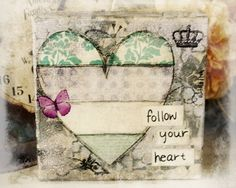 Green and beige mixed media heart flower and butterfly Mixed Media Collage, Mixed Media Canvas, Collage Art, Heart Collage, Altered Canvas, Altered Art, Art Journal Pages, Art Journals, Mix Media