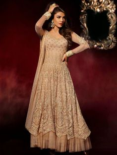 Cream Net Anarkali Suit With Embroidery Work