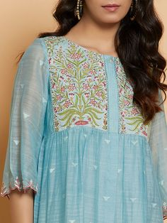 Buy Designer Gowns online from VinothnaDesigns - abandoned castles Hand Embroidery Dress, Embroidery Suits, Frock Patterns, Clothing Patterns, Kurti Neck Designs, Blouse Designs, Sky Blue Suit, New Dress Pattern, Fancy Kurti