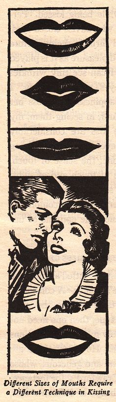 'Mouth Size Dictates the Style of Your Kissing', the 1934 Book, 'The Art of Kissing'.