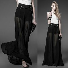 Black Maxi Long Gothic Boho Fashion Skorts Skirts Clothing Shop Women SKU-11406292