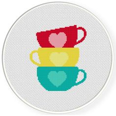 FREE for Jan 1st 2015 Only - Cup Stack Cross Stitch Pattern
