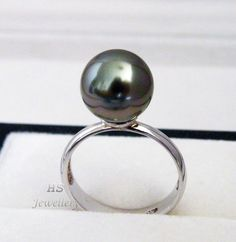HS Tahitian South Sea Cultured Pearl 10.93mm Ring 925 Sterling Silver Top Grade