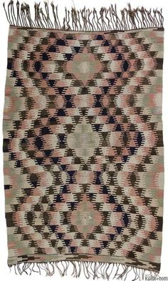 Vintage kilim rug hand-woven in Afyon, located inland from the Aegean coast of Turkey in 1960's.