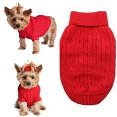Need a new dog sweater?  Cable Knit Dog Sweater By Doggie Design Fiery Red #doggie #yorkie