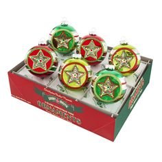 Holiday Splendor Decorated Rounds with Star Reflectors Ornament Set
