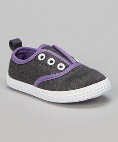 Look at this #zulilyfind! Dark Gray & Purple Jersey Slip-On Sneaker by Chatties #zulilyfinds