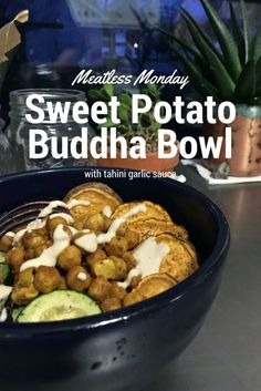 Sweet potato, kale, zucchini and chickpeas round out this delicious meatless meal!