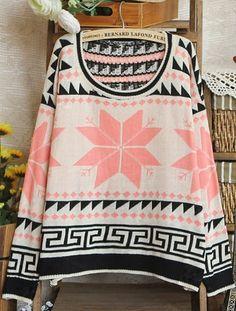 Pink Long Sleeve Snowflake Tribal Print Sweater