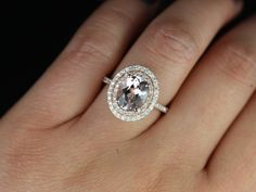 Original Cara 14kt Rose Gold Thin Oval Morganite Double Halo Engagement Ring