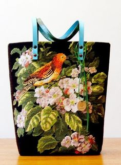 Les Sauvage Recyclage canevas  Sac / Tote bag / vintage design needlepoint