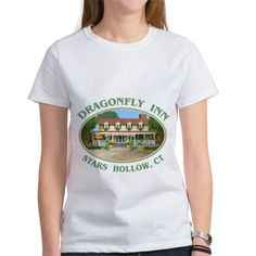 Dragonfly Inn Womens Favorite Tee  #DragonflyInn #Starshollow CT painting by TheTshirtPainter #GilmoreGirls #GilmoreGirlsRevival shirts pillows more - for all this design - click here - http://www.cafepress.com/dd/107304344