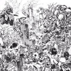 Juxtapose x Flat ARTWORK BY KIM JUNG GI Illustrations, Illustration Art, Junggi Kim, Jordi Bernet, Drawing Sketches, Drawings, Sketching, Kim Jung, Sketchbook Inspiration