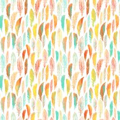 Colorful watercolor feathers fabric by dariara on Spoonflower - custom fabric