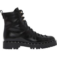 Valentino Women 30mm Soul Rockstud Leather Hiking Boots (8687420 PYG) ❤ liked on Polyvore featuring shoes, boots, black, black boots, studded boots, low heel leather boots, genuine leather boots and valentino shoes